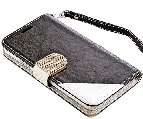 Mylife Charcoal Black And White - Wallet Design - Koskin Faux Leather (Card, Cash And Id Holder + Magnetic Detachable Closing + Hand Strap) Slim Wallet For New Galaxy S5 (5G) Smartphone By Samsung (External Rugged Synthetic Leather With Magnetic Clip + In