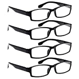 AV 4 Pack Spring Hinge Black Frame Readers Reading Glasses for Men and Women - 2.25x