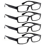 AV 4 Pack Spring Hinge Black Frame Readers Reading Glasses for Men and Women - 2.00x