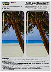 Graphics and More Tropical Palm Tree Ocean Beach Protective Skin Sticker Case for Apple iPhone 5C - Set of 2 - Non-Retail Packaging - Opaque