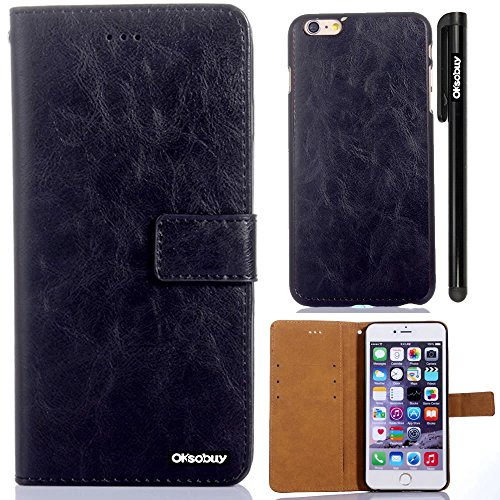 Oksobuy® Apple iPhone6 Plus (5.5 inch) Model High quality and durable Fashion Luxury Designer PU Leather Wallet Type Magnet Split cell phone Holster combo dual-use Combo Flip Case Cover with Credit Card Holder Slots Fit For Apple iPhone6 Plus (Apple Iphone 6 Plus case)with Stylus (Black crazy-horse leather )
