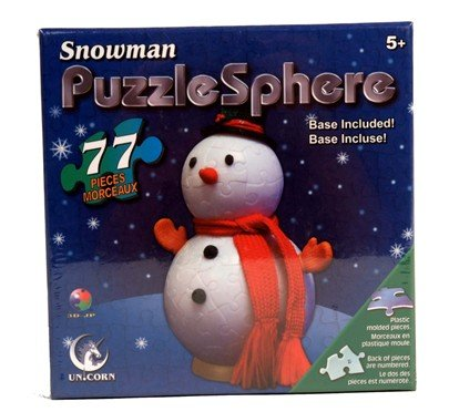 Picture of Unicorn Enterprises Corp. Snowman Puzzle Sphere 77 Piece Numbered Puzzle with Base (B001PYY6J6) (3D Puzzles)