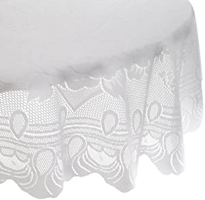 Lorraine Home Fashions Sharon 60-inch by 84-inch Oval Tablecloth, White