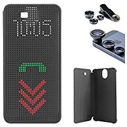 DMG Dot View Interactive Flip Cover Case for HTC One E9 Plus (Black) + 3in1 Fisheye Wide Angle and Macro Lens