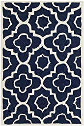 Safavieh Chatham Collection CHT750C Handmade Dark Blue and Ivory Wool Area Rug, 2 feet by 3 feet (2\' x 3\')