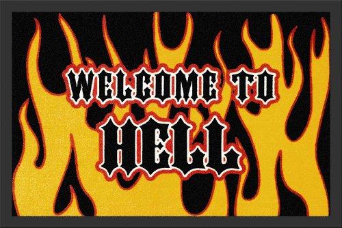 Empire Merchandising GmbH, 623188, Zerbino Welcome to Hell, 60 x 40 cm, in polipropilene, colore: Nero/Giallo