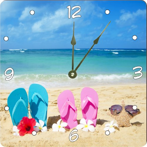"Rikki Knighttm Pink And Yellow Flip Flops With Starfish And Red And White Flowers On Sunny Beach Design 8"" Art Wall Clock front-667973"