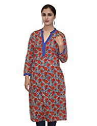 Blue And Red Printed Straight 3/4 Sleeves Kurta