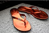 Authentic Gucci Classic Womens Genuine Leather Sandals Flip-flops Flat Shoes Made in Italy - Red Copper US 6.5