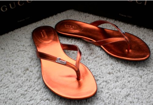 Authentic Gucci Classic Womens Genuine Leather Sandals Flip flops Flat Shoes Made in Italy Red Copper US 6 5
