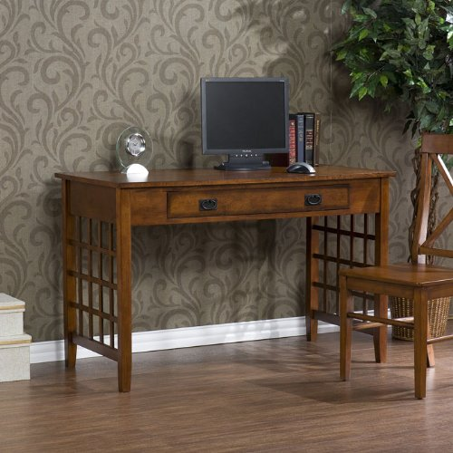 Buy Low Price Comfortable Lattice Computer Desk in Brown Mahogany HO8881 (B004E2WEPE)