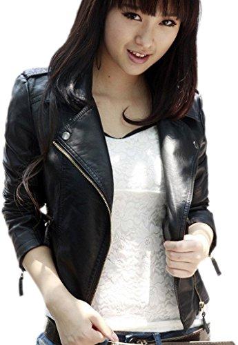 EOZY-Jacket Moto Donna di PU Pelle Giacca a Manica Lunga Donna (Nero, Petto di 86cm)