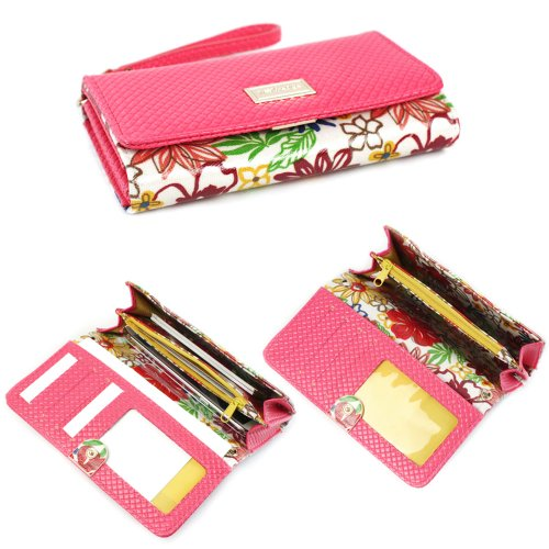 JAVOedge Floral Smartphone Clutch Wallet Case with Wristlet (Pink) for Apple iPhone, Samsung, Nexus, Amazon Fire