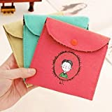 KuaiKqcl Vintage Style Childhood Signature Cotton Sanitary Napkins bag Random Color