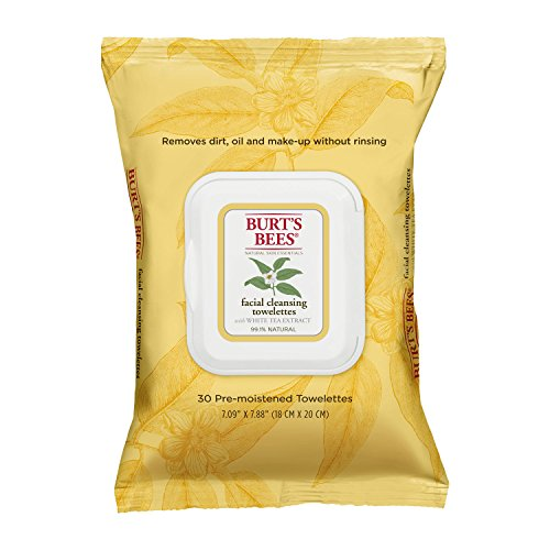 Burt's Bees Facial Cleansing Towelettes with White Tea Extract, 30 Count (Pack of 2) Image