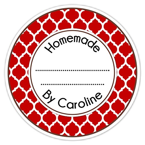 36 Kitchen Labels, Canning Stickers, Baked Goods, Homemade Labels, Homemade Kitchen Stickers, Red Quatrafoil (Personalized Canning Labels compare prices)