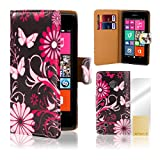 32nd® Designer Book PU leather wallet case cover for Nokia Lumia 530 + screen protector and cleaning cloth - Gerbera