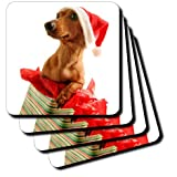 3dRose Cst_4575_2 Santa Dog Soft Coasters, Set Of 8