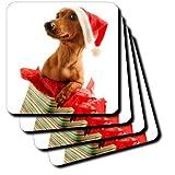 3dRose Cst_4575_2 Santa Dog Soft Coasters, Set Of 8