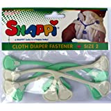 Snappi Cloth Diaper Fasteners - Toddler Size 2 - Pack of 4 (2 Mint Green, 2 White)