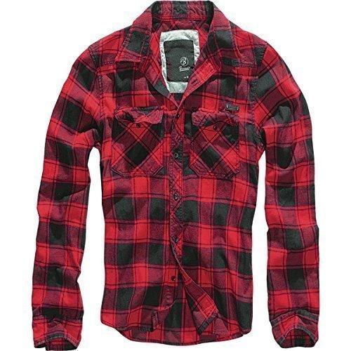 Brandit Camicia A Quadri Uomo Flanella Hemd - cotone, rosso-nero, 100% cotone cotone 100% 100% cotone, Uomo, XXL