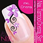 Nailart NAIL TATTOO STICKER - SWAROVSKI CRYSTAL SET - blossom / ornament - purple / black