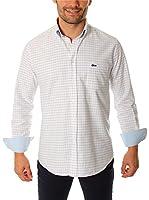 VICKERS Camisa Hombre Harvard (Blanco Roto / Rosa / Azul)