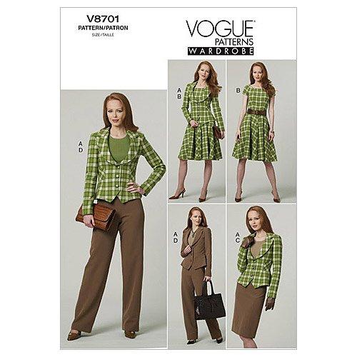 Vogue Patterns V8701 Misses' Jacket, Dress, Skirt And Pants, Size AA (6-8-10-12)