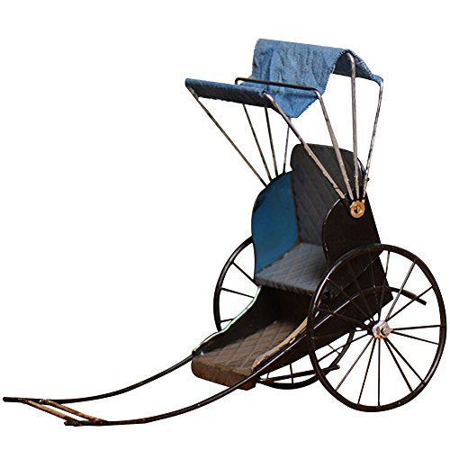Aimeart Metal Crafts Retro Rickshaw Decoration Home Prop, Blue