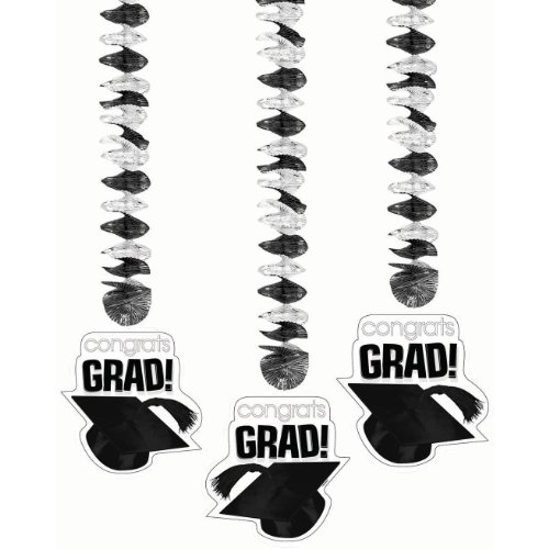 Congrats Grad White Dangling Cutouts
