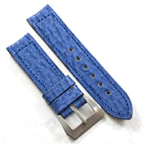 Pre-V by Mario Paci in Original Fango Sharkskin in Blue with a sewn in Stainless Steel buckle 24/24 130/85