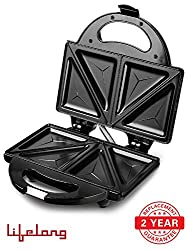 Lifelong 116 Stainless Steel Triangle Plate Toast Sandwich Maker, Black