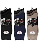 6 Pairs Mens Big Foot Cotton with Lycra Socks - UK Size 11-14 - 3 Styles Available