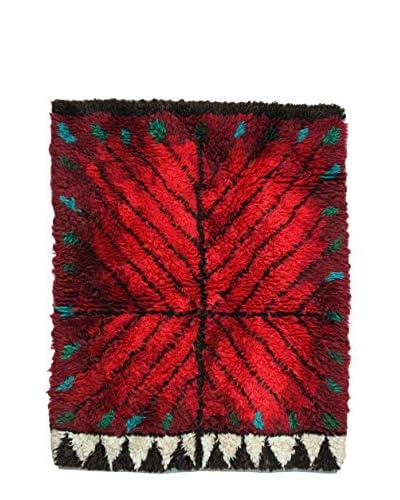 Handmade Swedish Rya Rug, Red/Black/Green, 3' 8 x 4' 7