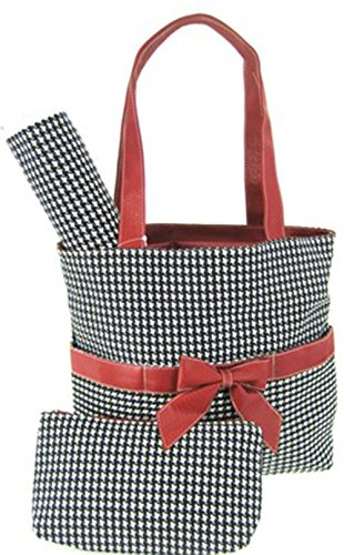 Houndstooth Girls Boys 3 Piece Diaper Bag Set w/ Changing Pad Crimson Roll Tide Alabama Bama (Burgundy Trim)