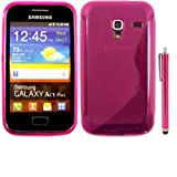 S-Line Gel Case Cover Skin And Large Capacitive Stylus Pen For Samsung Galaxy Ace Plus S7500 / Pink