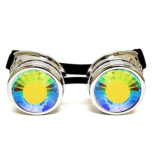 GloFX Kaleidoscope Goggles – Wormhole Lens – Chrome Frame – Adjustable Strap – EDM Rave 3d Prism Rainbow Cyber Welding Steampunk Cyborg Portal Style