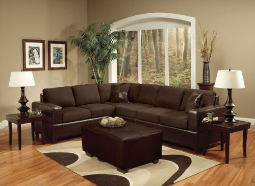Madrid Chocolate Sectional Sofa and Matching Ottoman by Acme Furniture