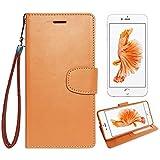 【 shizuka-will- 】Apple iPhone7 専用 手帳型 シンプル ケース カバー ストラップ付 クリアポケット カード収納あり ( キャラメルブラウン ) iPhone7 docomo au softbank スマホ ケース