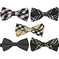 Ukerdo Mens Plaid Tuxedo Bow Tie 5 in 1 Adjustable Pre-Tied Bow Ties Collection