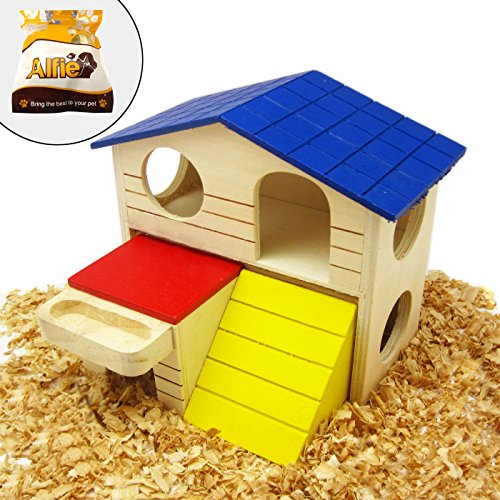 Alfie Pet Small Animal Hideout - GARI Wood Hut (Living Habitat for Dwarf Hamster and Mouse) - Size: Large