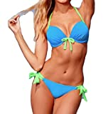 Women Sexy Push Up Padded Swimsuit Swimwear Bathing Suit Bikini Set Light Blue M