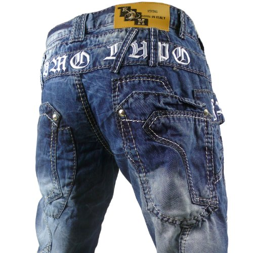 Kosmo Lupo K&M KM Cross Mens Jeans itaian Denim brand premium luxury Designer Pants Trousers W36 / L32