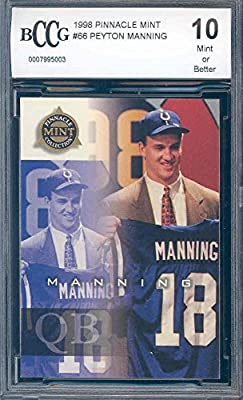 1998 pinnacle mint #66 PEYTON MANNING indianapolis colts rookie card BGS BCCG 10 graded card