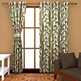 Ab home decor Polyester Door Curtains (Set of 2)- 7 Feet x 4 Feet,Green