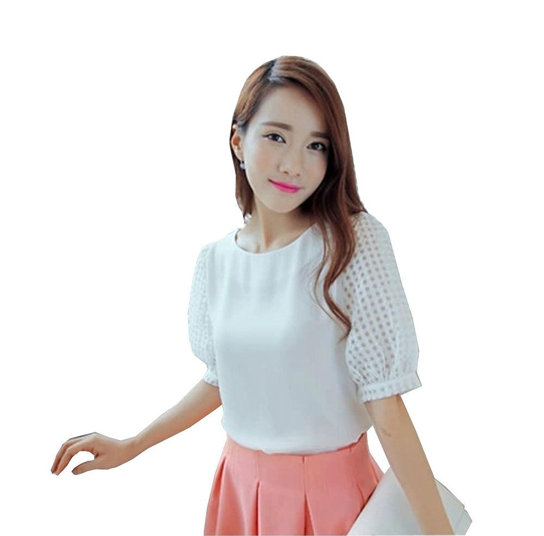 Amazon.co.jp: TransFG レディース パフスリーブ Tシャツ ブラウス オーガンジー シフォン ステッチ 0595-0597: 服&ファッション小物通販