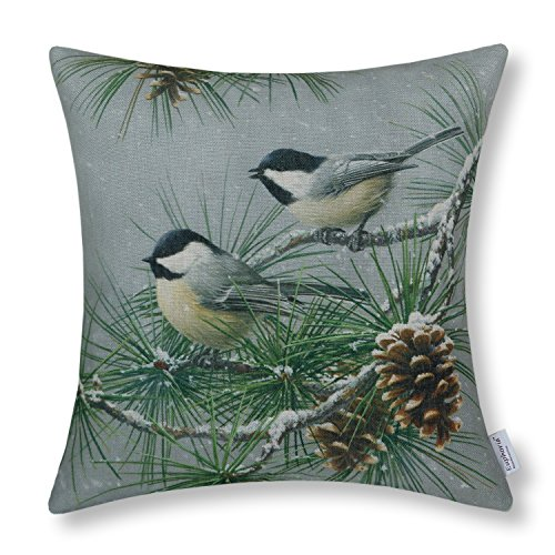 CaliTime Throw Pillow Cover 18 X 18 Inches, Wild Chickadees, Pinecones Tree in Winter