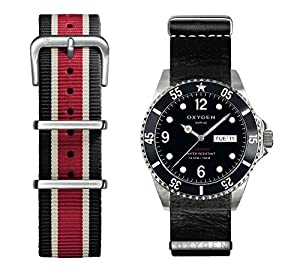 OXYGEN Moby Dick 40 unisex quartz Watch with black Dial analogue Display and multicolour leather Strap EX-D-MOB-40-2S