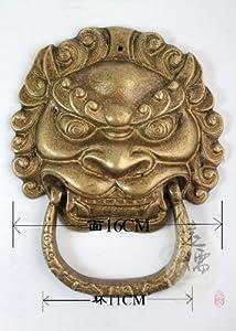 Chinese Lion Head Solid Brass Door Knocker Yrh012-y Vintageworld