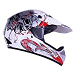 602-white-skblood White Blood Skull Motocross ATV Open Face Helmet DOT (Large)
